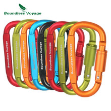 Boundless Voyage 8pcs/lot Climbing Hook Outdoor Carabiner Aluminum Alloy D-type Hanging Buckle Locked keychain Mountaineering