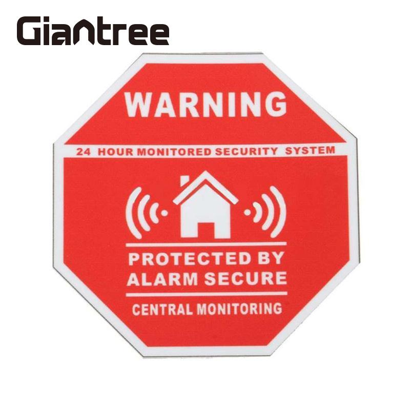 Giantree Home Alarm Security Warning Sign Adhesive Sticker Decal Window Vinyl Decal Warning Sticker 10pcs lot 200 250mm yellow and black decal sticker warning board 24hr cctv surveillance security camera sticker decal signs