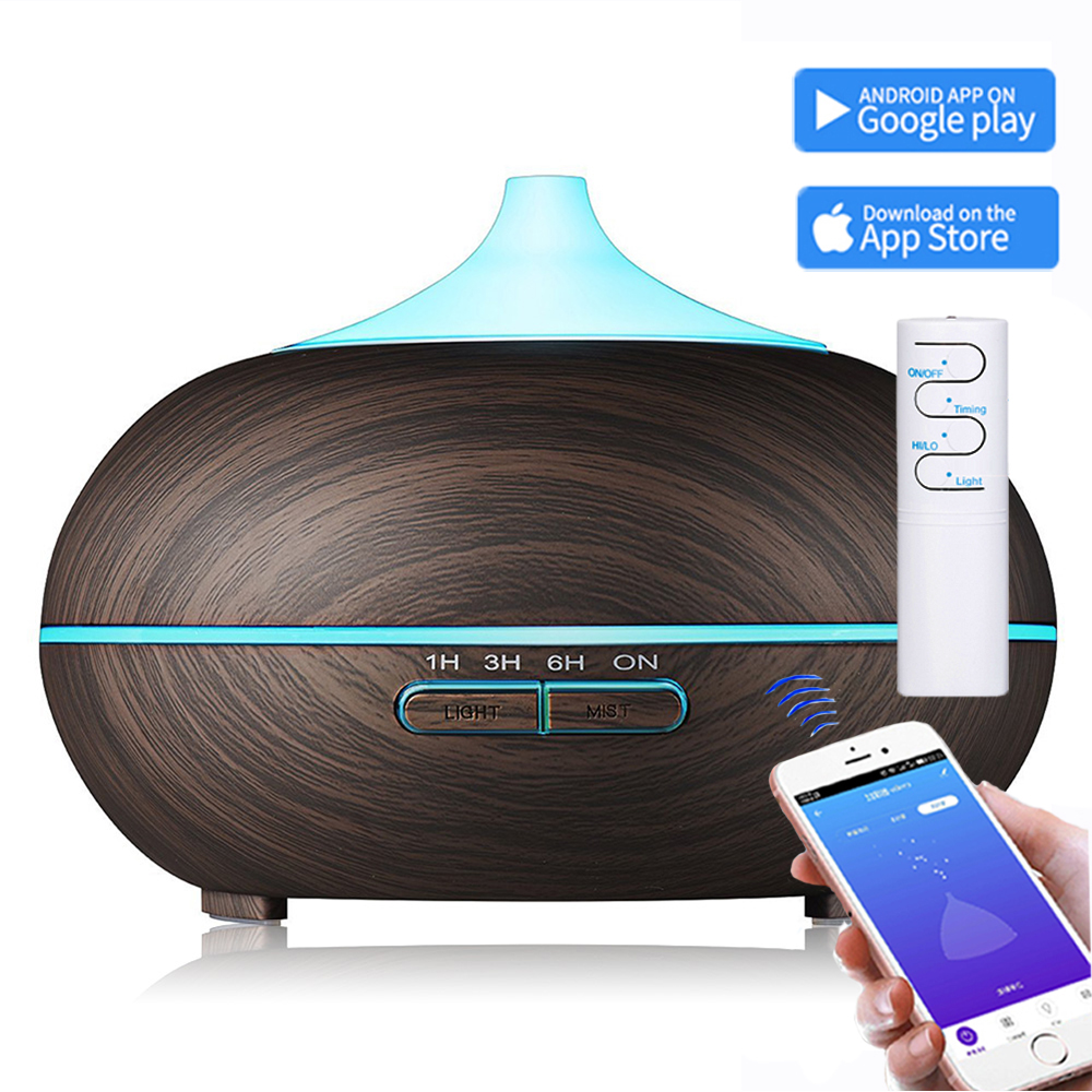 550ml Remote Wifi Control Ultrasonic Air Humidifier Aroma Essential Oil Diffuser With Wood Grain 7 Color Changing LED Light Home