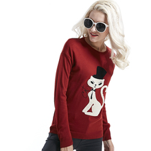 2016 korean style sweater with cat shirt blouse sweater lady knitting elegant tops for winter high quality pullover winter