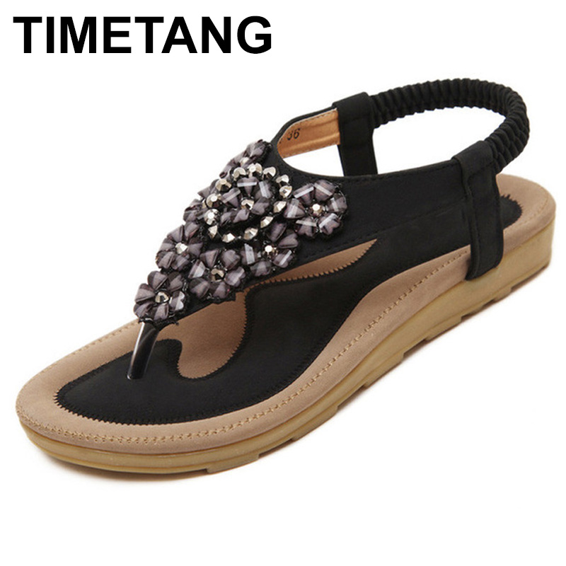 TIMETANG Summer Sandals Women T-strap Flip Flops Thong Sandals Designer Elastic Band Ladies Gladiator Shoes Zapatos Mujer C048 nowodvorski cage black i zwis
