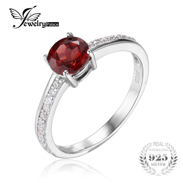 Jewelrypalace clássico redonda 1.3ct genuíno vermelho garnet branco topázio solitaire anel de noivado para as mulheres 925 jóias de prata esterlina