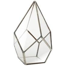 Hot Sale 1 pc of five faces large diamond house geometric glass flower home decor plant pot-16x16 x25cm