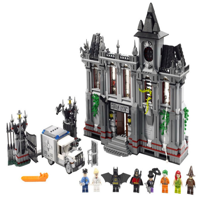 KAZI 7124 1619Pcs Batman Super Heroes Arkham Asylum Building Block Toys DIY Educational Gift For Children Compatible Legoe 10937 lepin 07055 batman series arkham asylum model building block compatible legoe 1628pcs toys for children