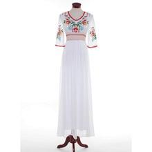 a5a3891efa Alta calidad la más nueva manera 2018 diseñador Maxi vestido de las mujeres  media manga partido Retro bordado algodón vestido la.