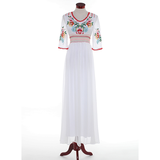 HIGH QUALITY Newest Fashion 2018 Designer Maxi Dress Women s Half Sleeve  Retro Embroidery Party Cotton Long Dress 4bf81db0cb21