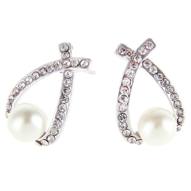 2018 Fashion Jewelry Crystal Pearl Earring Jewelry Jewelry Cross Pearl Flash Diamond Womens Elegant Earrings