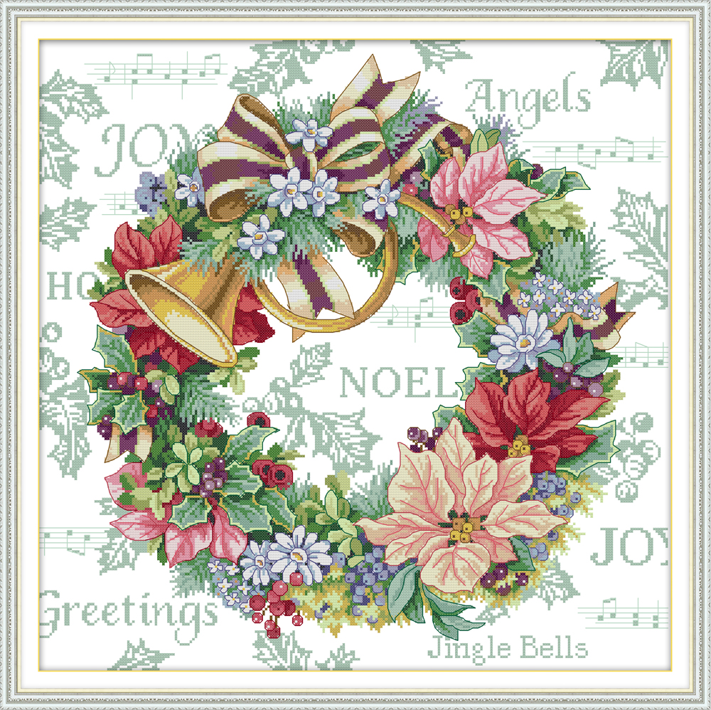 Holiday Wreath Cross Stitch Kit Aida 14ct 11ct Count Print Canvas Cross Stitches Stitching  Needlework Embroidery DIY Handmade
