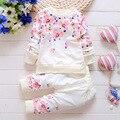 2016 primavera outono crianças menina conjunto de roupas esportes das meninas do bebê flores traje crianças roupas definir crianças terno roupas meninas