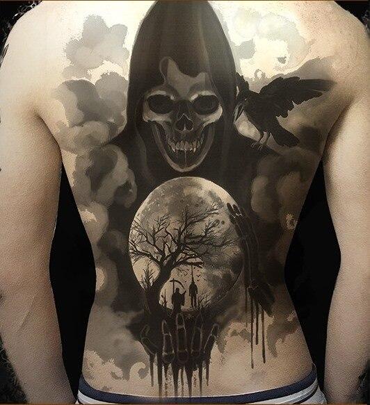 Waterproof Temporary Tattoo Sticker full whole back grim Reaper skull tatto stickers flash tatoo fake tattoos for men women 9