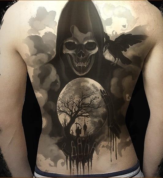 Etanche Tatouage Temporaire Autocollant Plein Dos Entier Grim Reaper