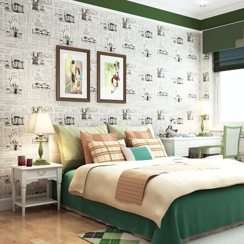 Cartoon british style letter pure paper, wallpaper living room background wall eco-friendly child room wallpaper