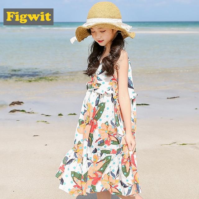 a6e6a4b578ec9 US $22.65 |Figwit Girl Summer Sleeveless Dress 2018 Children Clothing For  Age 9 11 12 Years Kids Girls Teen Flower Print Boho Beach Dress-in Dresses  ...