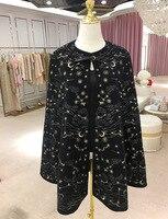 KENVY Brand fashion women's high end luxury autumn black British wool embroidery cloak jacket long cloak Coat