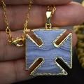 Новое поступление синий вен агат резки квадратного кулон с позолоченными 16 '' 26 '' цепочка ожерелье