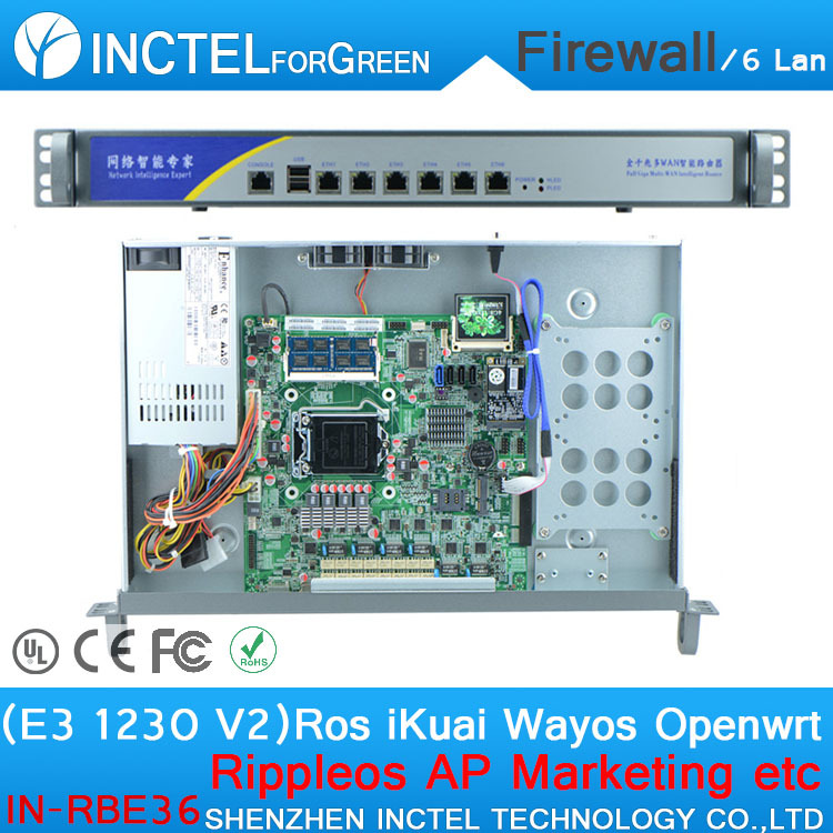цены ROS 6 Gigabit flow control ITX firewall server with E3 1230 V2 cpu 1000M 6 82574L 2 groups Bypass model number IN-RBE36