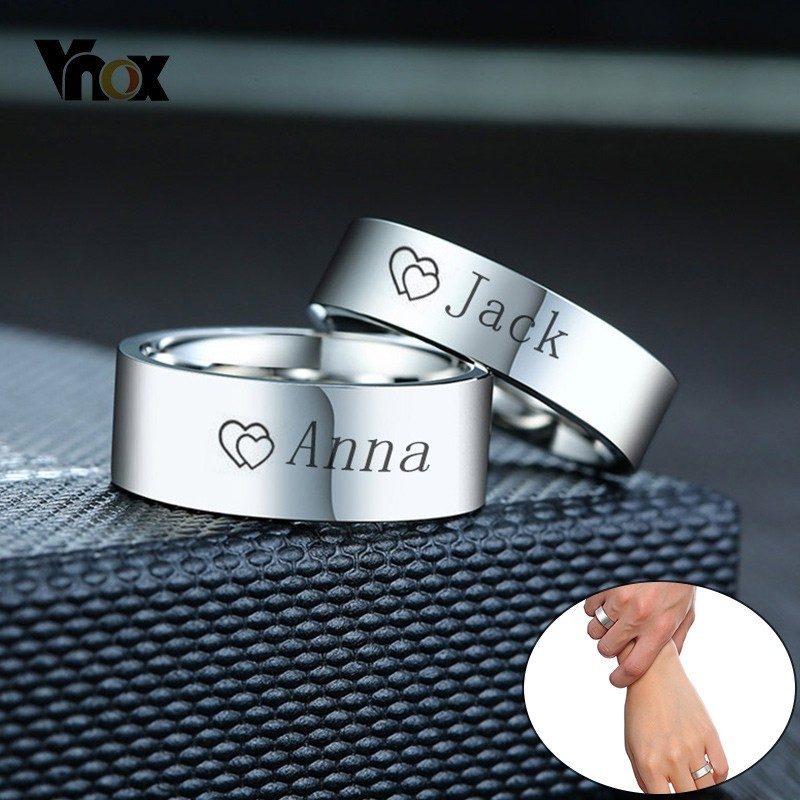 Vnox Wedding-Rings Stainless-Steel Never Fade Promise Custom Love Couple Silver-Color