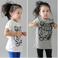 Fashion Tiger Printed Baby Girls Short Sleeve Round Neck T Shirts Toddler Infant Summer Tee Casual Cotton Tops fit 2-6Y