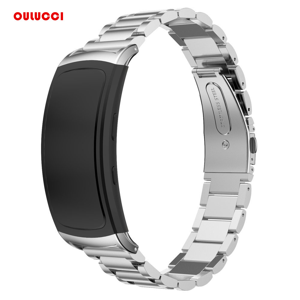 For Samsung Gear Fit2 SM-R360, Genuine Stainless Mteal Steel Bracelet Smart Watch Band Strap Fitness Tracker Wristband stainless steel link bracelet wrist watchband strap for samsung gear fit 2 sm r360 fit2 pro sm r365 fitness tracker watch band