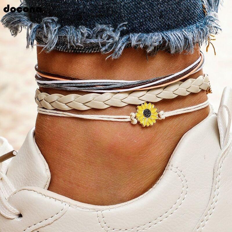 docona Bohemia Sunflower Daisy Charm Anklets for Women Girls Goth Anklet Fashion Boho Jewelry Pulseras 3pcs/Set 4012