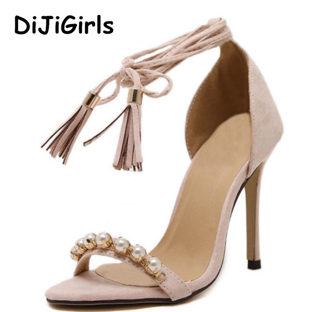 6de71b7aa9ddbc DiJiGirls New Summer Roman Sandals Women Tassel high-heeled Sandals Pearl  Beaded Ankle Straps Sexy Stiletto Party Wedding Shoes