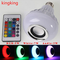 E27 B22 LED RGB Bluetooth Speaker Bulb Wireless 12W Power Music Playing Light Lamp
