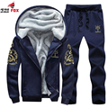 Outono Inverno Homens Hoodies Fatos De Treino Com Capuz Mens Quente Grossa Camisola de lã bordado Hoodies suit sporting 5XL, 6XL, 7XL, 8XL