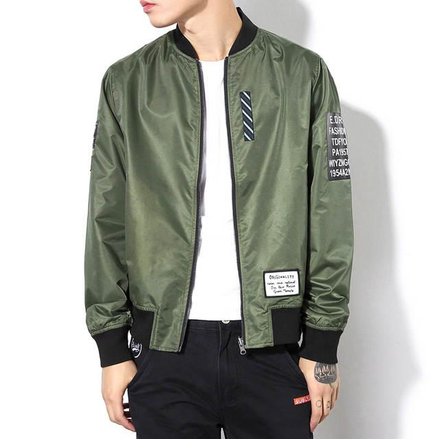 US $43.98 20% OFF 2017 nowa wiosna moda męska Bomber kurtka dwa Face Wear kurtka bejsbolówka Streetwear Kanye West kurtka ponadgabarytowych płaszcz M