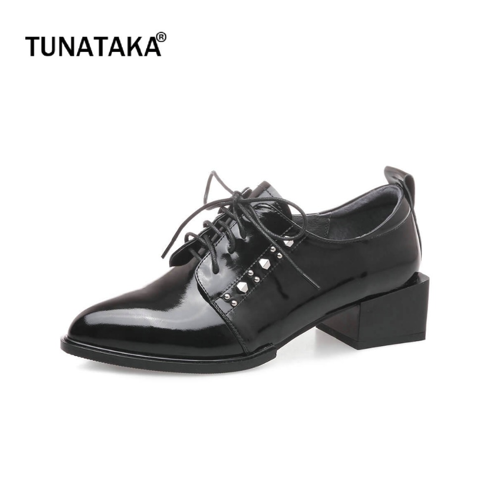 Genuine Leather Comfort Square Heel Pointed Toe Woman Pumps Fashion Lace Up Dress High Heel SHoes Woman Black Green