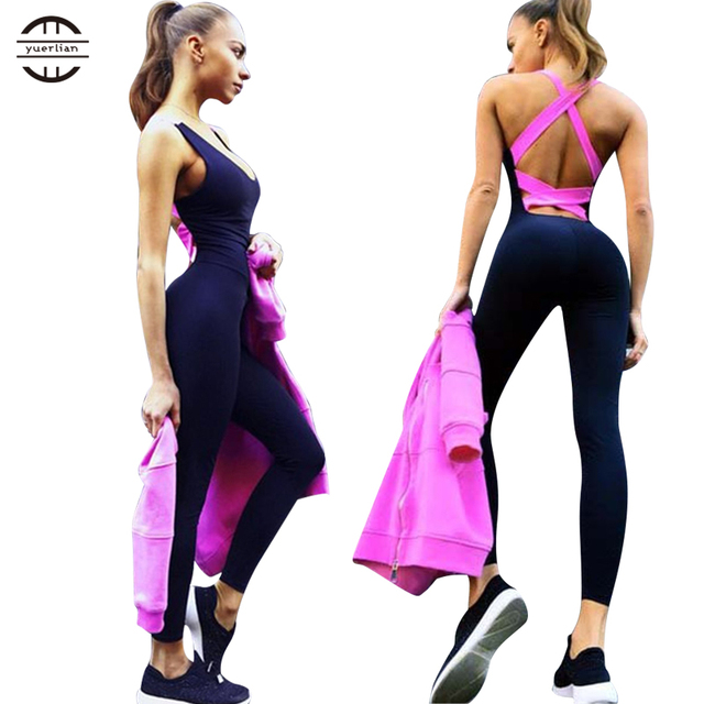 4b0fb897365 Yel Hot Sexy Girls Backless Playsuit Fitness Tights Jumpsuits Costume Yoga  Sport Suit Gym Tracksuit For Women One Piece Bodysuit