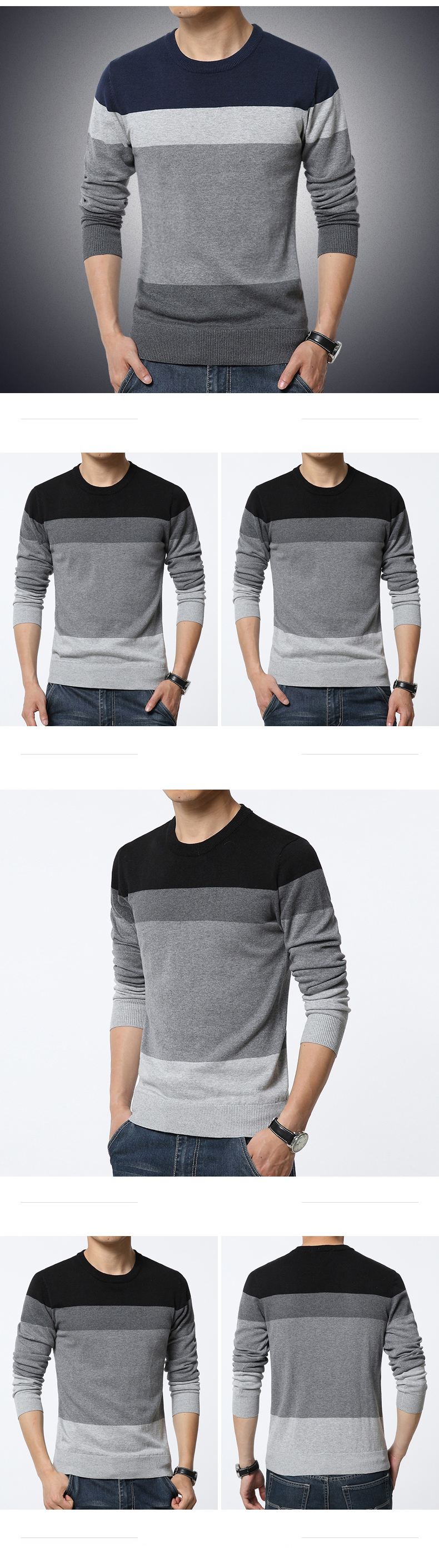 19 Autumn Casual Men's Sweater O-Neck Striped Slim Fit Knittwear Mens Sweaters Pullovers Pullover Men Pull Homme M-3XL 5