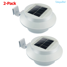 UniqueFire 2Pcs IP44 Waterproof 3 LEDs Outdoor Sloar Light Automatic Sensor  Wall Roof Patio Lawn Eaves Fence Doorway Garden Lamp