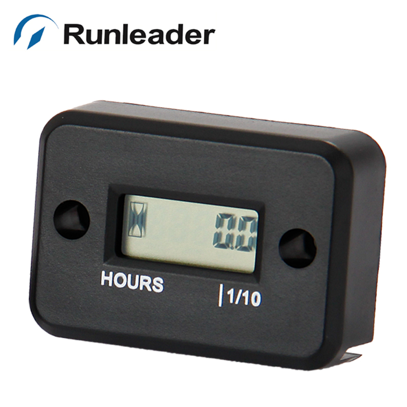 Runleader LCD Inductive digital Hour Meter for jet ski Motorcycle Snowmobile marine ATV lawn mower glider paramotor motocross