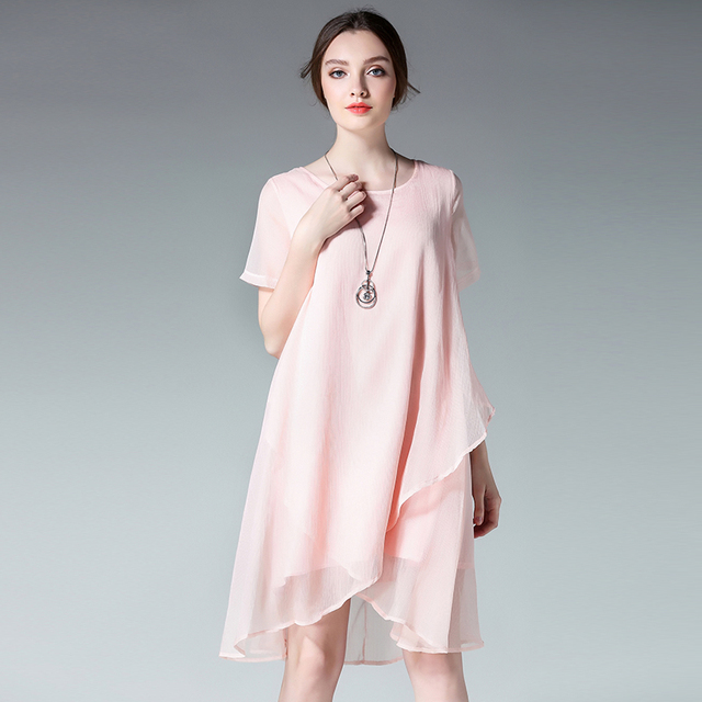6ee6b595067 4xl summer chiffon dress women 2017 new european woman fashion brand pink  oversized irregular knee length
