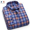 Langmeng Nueva Arrivrd 2016 Marca 100% Algodón de Otoño de Los Hombres Ocasionales Confort Para Hombre de Franela Camisas Plaid Slim Fit de Manga Larga Suave camisas