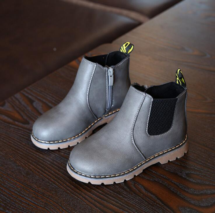 New Autumn Children Shoes Pu Leather Waterproof Martin Boots Warm Kids Snow Boots Girls Boys Rubber Boots Fashion Sneakers #2