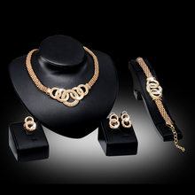 Jewelry Sets For Women African Beads Wedding Necklace Bracelet Imitation Crystal Earrings Rings Accessories(China)