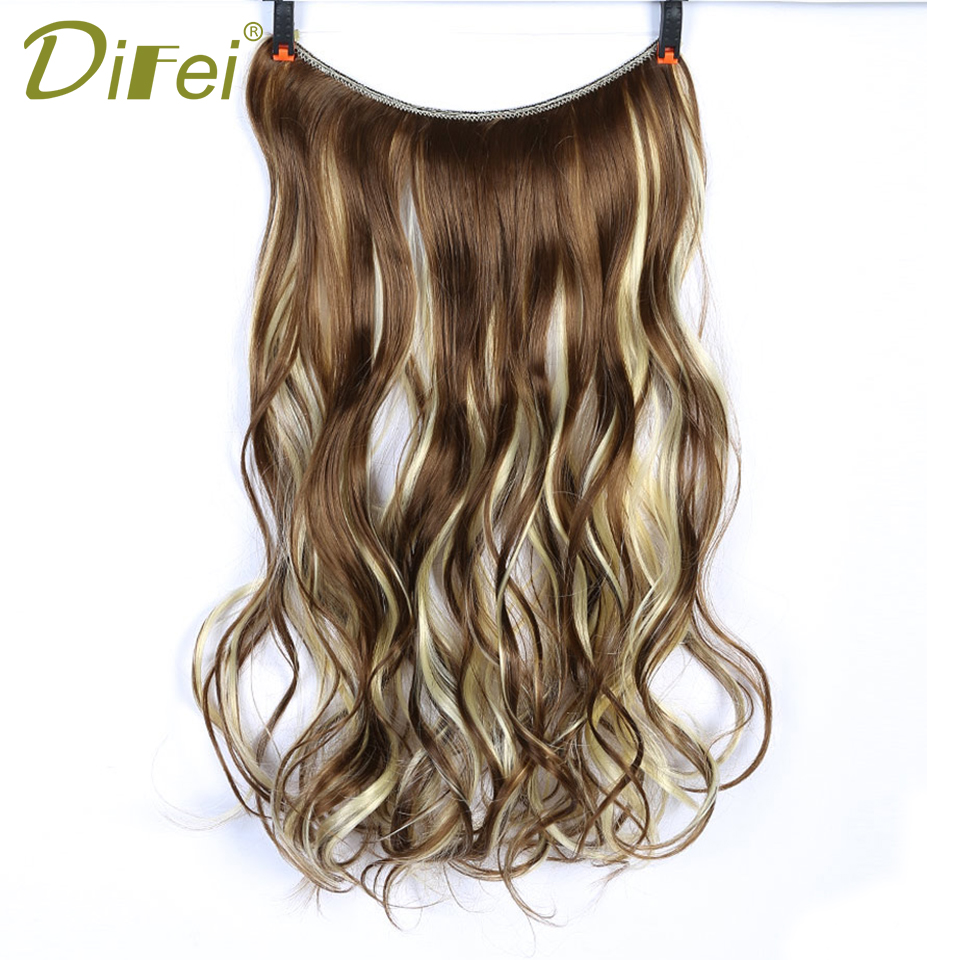 DIFEI Synthetic Long Straight/Wavy Hair Extensions 22 Inch Invisible Wire No Clips in High Temperature Fiber Hair Extensions