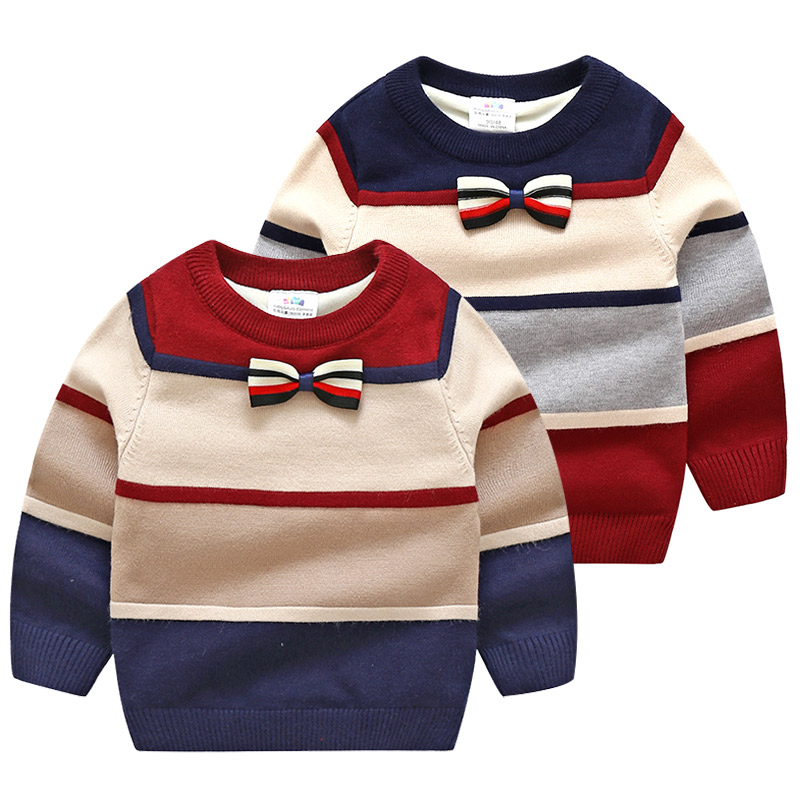 2019 Winter 2-10 Years Christmas Gift Color Patchwork Thickening Plus Velvet Knitted Bow Gently Baby Kids Boys Handsome Sweaters