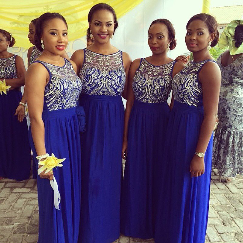 Popular Blue And Silver Bridesmaid Dresses