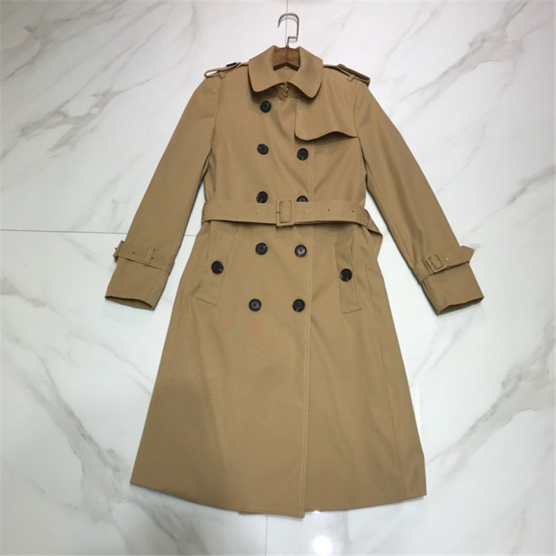 Luxury Designer Brand Woman Classic Double Breasted   Trench   Coat Waterproof Business Outerwear