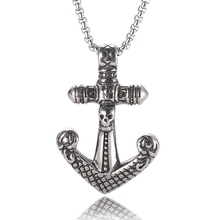 Anchor Pendant Men Necklace viking necklace with stainless steel chain Silver Hook Necklace Jewelry Gift BB0055 astronaut pendant necklace galaxy universe spaceman meditation trinket retro stainless steel chain men necklace