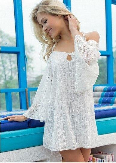 Correa de espagueti del hombro de manga larga de las mujeres clothing summer style white lace backless tops loose envío libre del vestido sexy