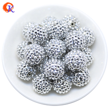 R44 Cordial Design 20MM 100Pcs/Lot Rhodium Chunky Resin Rhinestone Beads Chunky Beads For Necklace Making CDWB 516033