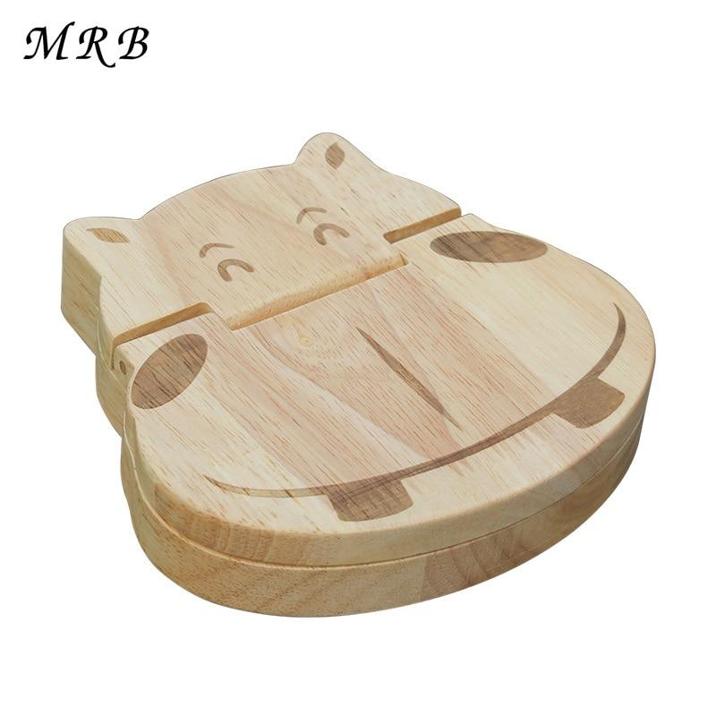 Wooden toy hippo baby teeth box shape Tooth Box organizer for Baby Save Milk teeth Wood Storage box great 3-6YEARS Montessori