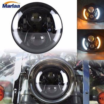 Marlaa 7inch Led Motorcycle Headlight with Left Right Turn Signal DRL Lights For  Softail Dyna Sportster