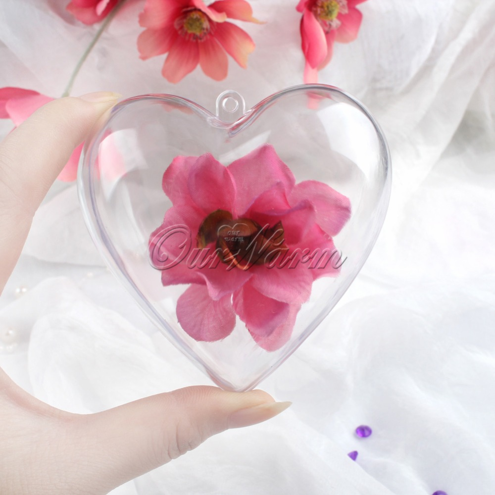 10pcs Transparent Plastic Heart Flower Gift Box Candy Container Ball Gifts For Guests Baptism Party Favors Wedding Decoration