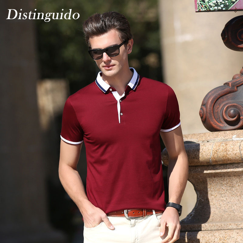 ab5b29121c306 Distinguido Men's Polo Shirts Spring Summer Short Sleeves Solid Color Smart  Casual Outwear Simple Business Man Shirt MST158