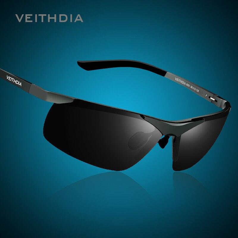 VEITHDIA de Marque Avec la Boîte D'origine Hommes Polarisées lunettes de Soleil Sans Monture Rectangle UV 400 Miroir Hommes Lunettes de Soleil Pour Hommes 6501