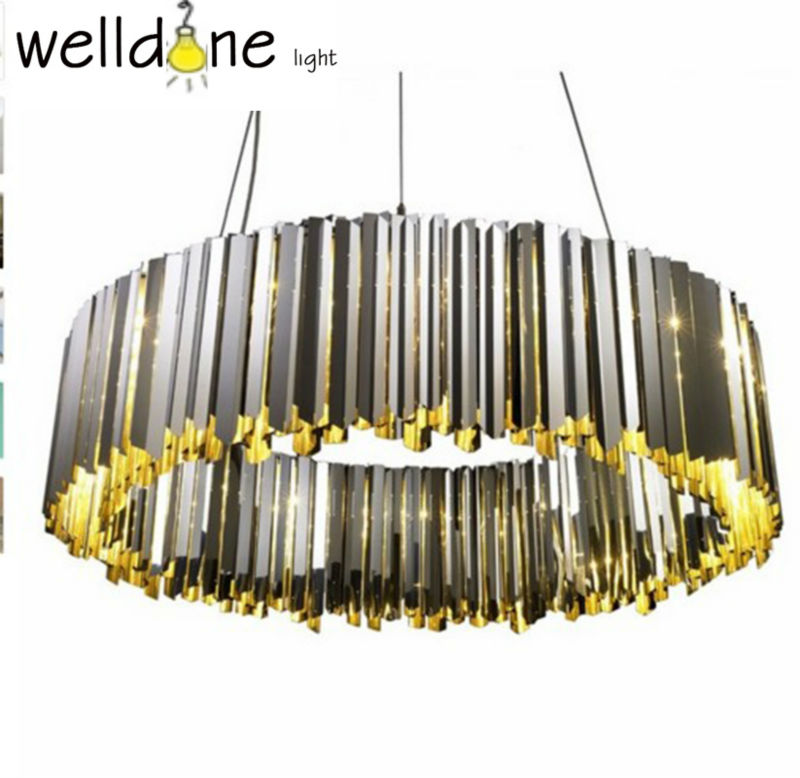 Creative Luxury Chrome circumference Mirror polished stainless steel Amazing Linear Facet Chandelier for Bedroom living room